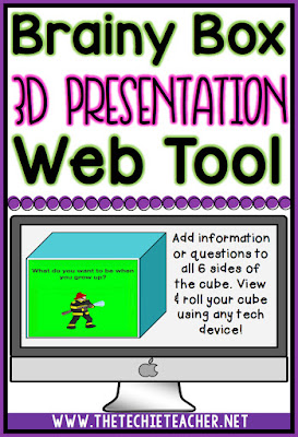 Use the Brainy Box web tool to create 3D presentations. Create on laptops or chromebooks. The cube can be viewed on any device-iPads&tablets