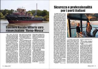 """OTTOBRE 2018 PAG.12 - Cantiere Navale Vittoria vara rimorchiatore """"Roma-Mosca"""""""