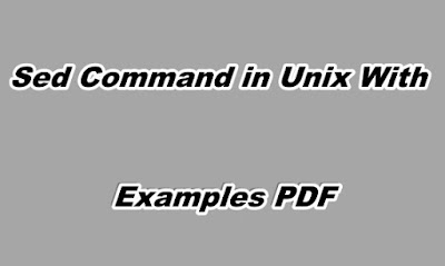 Sed Command in Unix With Examples PDF