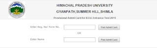 HPU B. Ed. Admit Card 2015