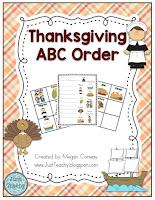 Thanksgiving ABC Order, www.JustTeachy.blospot.com