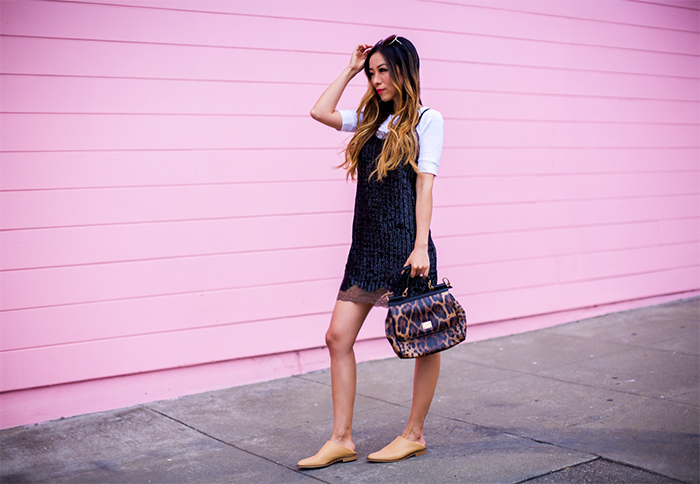 Topshop sequin slip dress, slip dress, how to , style tip, topshop dress, chloe sunglasses, everlane babo shoes, white tee, dolce gabbana siisly bag, summer style, san francisco street style