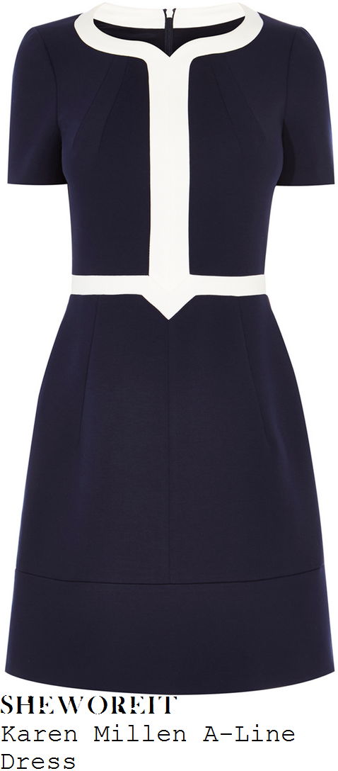 susanna-reid-karen-millen-navy-blue-and-white-short-sleeve-contrast-colour-block-panel-detail-high-waisted-a-line-shift-dress
