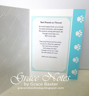 Pet Sympathy card, inside. Verse and design by Grace Baxter