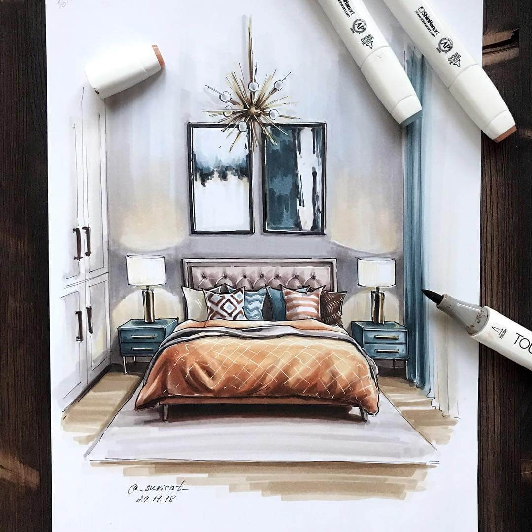 03-Guest-Bedroom-Ekaterina-Suricat-Interior-Design-Colored-Sketches-www-designstack-co