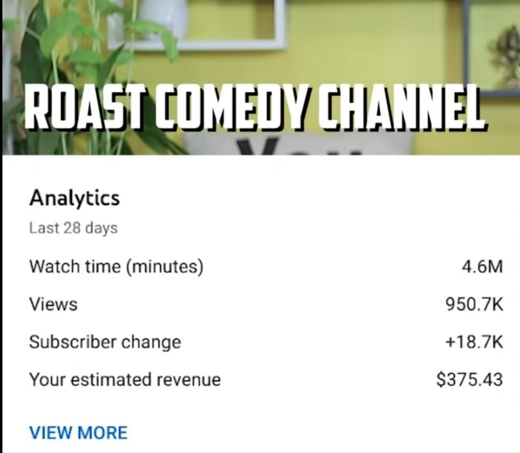youtube income-on-roast-channel for 1 million views