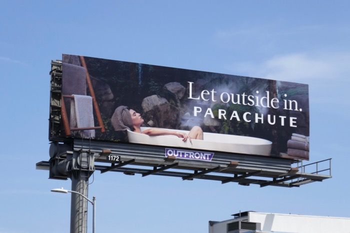 Let outside in Parachute bath billboard