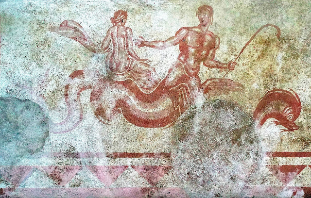 Large mosaic with with polychrome marine motifs uncovered in Italy's Trevi