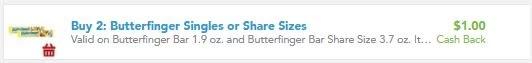 $1.00/2 Butterfinger Single Bars Checkout 51 Cashback Rebate (go to checkout51 APP)