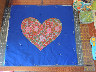 heart applique cushion cover