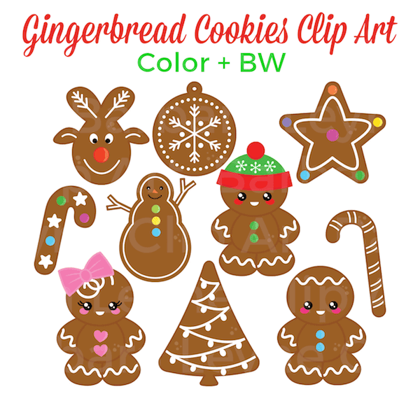 Gingerbread Man Clip Art for the Holidays. This sweet set of gingerbread cookies clipart is sure to delight! There are 20 png images, including black line art.