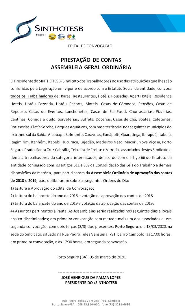 EDITAL DE CONVOCAÇÃO SINTHOTESB – PRESTAÇÃO DE CONTAS ASSEMBLEIA GERAL ORDINÁRIA