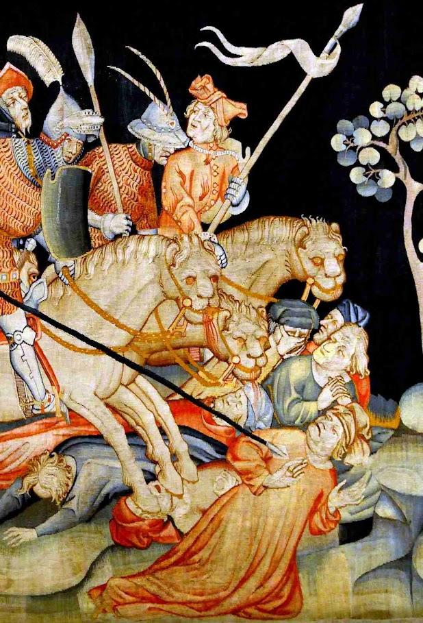 Perseguições do Anticristo. Tapeçaria do Apocalipse, Angers, detalhe
