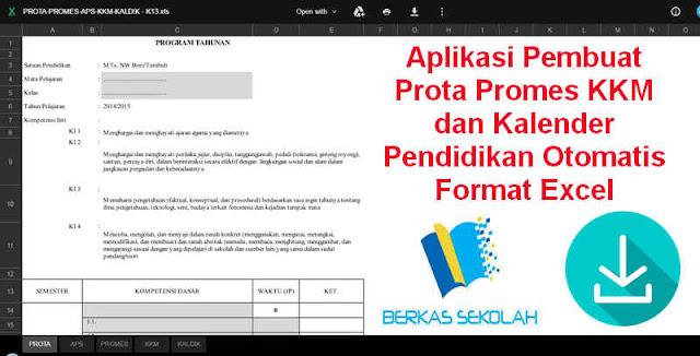 Download Aplikasi Pembuat Prota Promes KKM dan Kalender Pendidikan Otomatis Format Excel