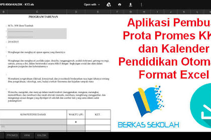 Aplikasi Pembuat Prota Promes KKM dan Kalender Pendidikan Otomatis Format Excel