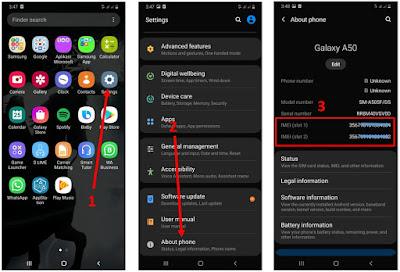 cek nomor IMEI HP Samsung - About Phone