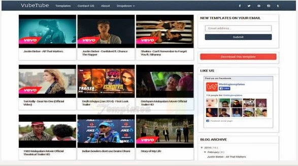 Vubetube responsive blogger template for video blogging ~ blogger.