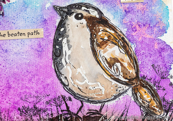 Layers of ink - Adventure Awaits Art Journal Page with Watercolor Birds by Anna-Karin Evaldsson.