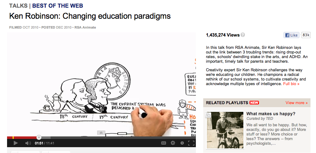 "the problems in our students education in changing educational paradigms a video by sir ken robinson Ken robinson rebuttal is a guest post written by scott goodman, rebutting another of sir ken's videos: scrapping ""ict"", argued that the term ""ict"" was no longer useful and should be scrappedi did not know at the time that the royal society had published a report 5 days earlier which came to the same conclusion."