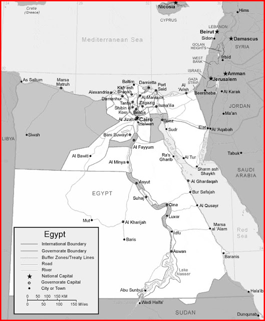 image: Black and white Egypt Map