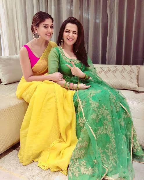 Nayanthara in yellow color saree