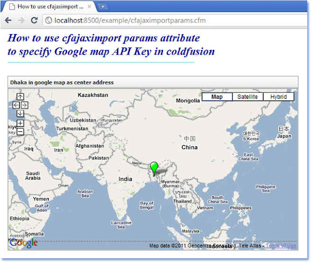 Google Map Request: CFAJAXIMPORT To Specify Google Map API Key In ColdFusion