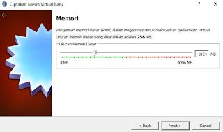 Memilih besar RAM yang akan dalokasikan untuk mesin virtual