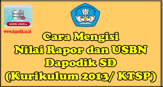 Cara Mengisi Nilai Rapor dan USBN Dapodik SD (Kurikulum 2013/ KTSP)