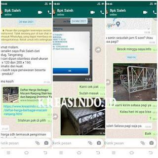 Hasil Pembuatan Ranjang Stainless yang di pesan Bpk Saleh Karang Tengah Tangerang