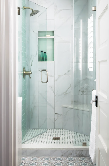 bathroom shower with glass tiles