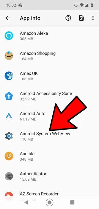 تطبيقات Android لا تعمل معلومات التطبيق