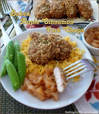 """Baked Apple Cinnamon Pork Chops (can substitute chicken) are marinated, then oven """"fried"""" with an apple cinnamon crust. 