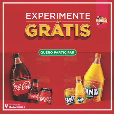 Que tal experimentar Grátis Coca-Cola ou Fanta?
