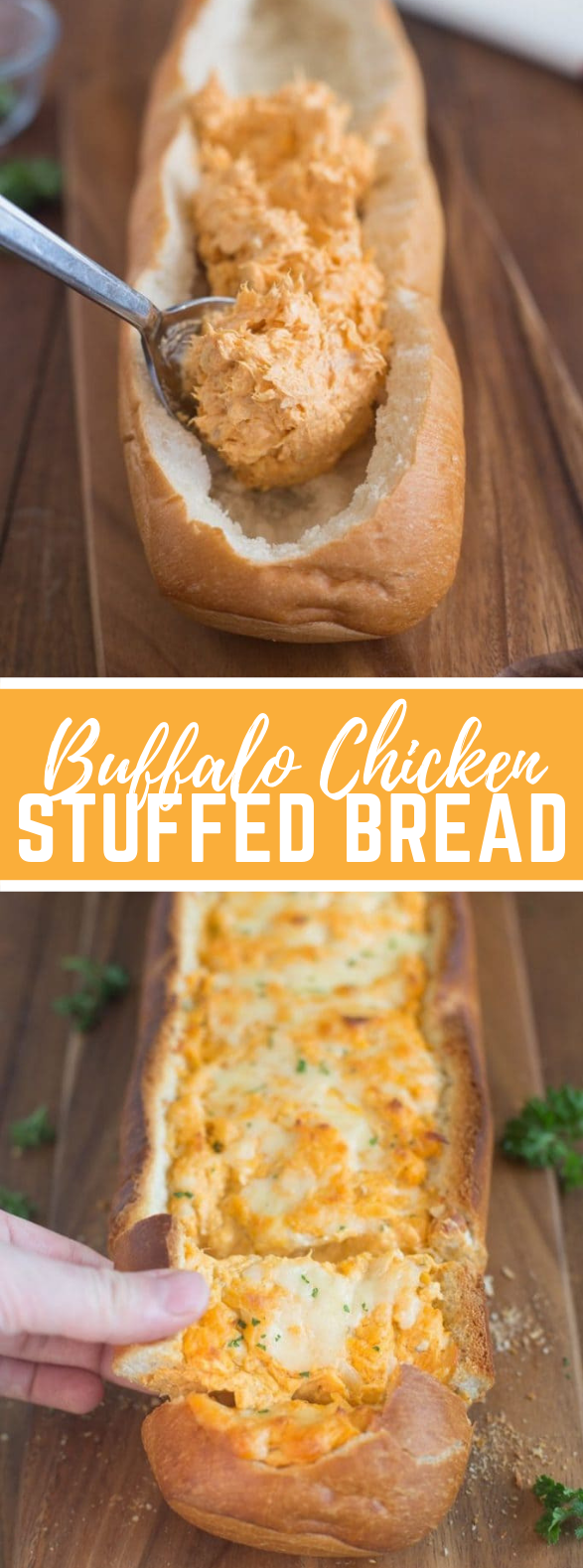 Buffalo Chicken Stuffed Bread #appetizers #gameday