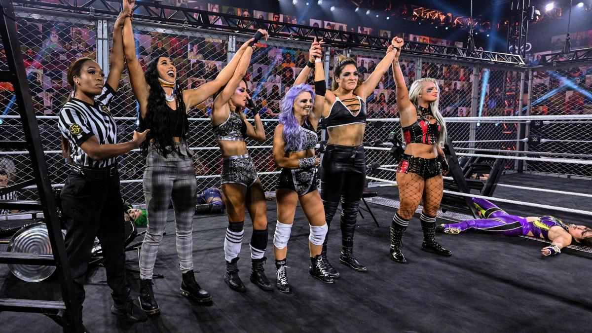 Candice LeRae, Indi Hartwell, Toni Storm, Dakota Kai, and Raquel Gonzales in WWE NXT TakeOver: WarGames 2020