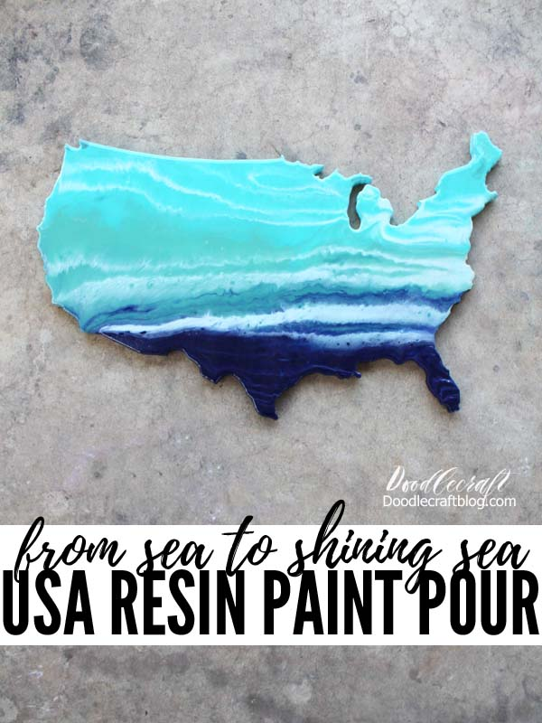 How to do an Ocean Resin Pour on USA Cutout DIY
