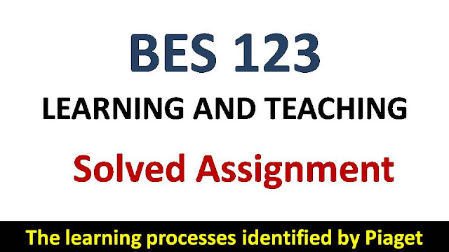 The learning processes identified by Piaget; ignou bes solved assignment; learning and teaching