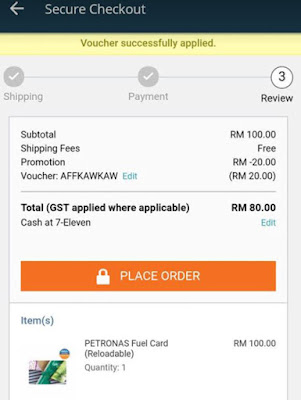 Petronas Fuel Gift Card Lazada Voucher Code