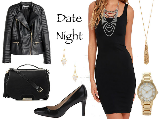 Date Night, Nine West, Pumps, The Limited, Faux leather cross body, vegan leather cross body, drop earrings, alexis bitters, forever21, gold watch, goad tassel necklace, lulus, lulus black bodycon dress, LBD, LBD bodycon, bodycon dress, sexy, black, gold, black & gold, black and gold