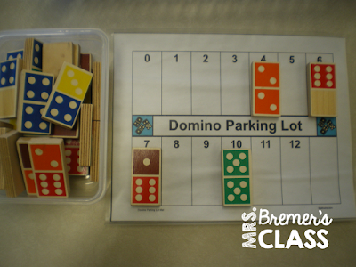 Domino Parking Lot- a FREE math center activity to practice addition skills in Kindergarten and First Grade