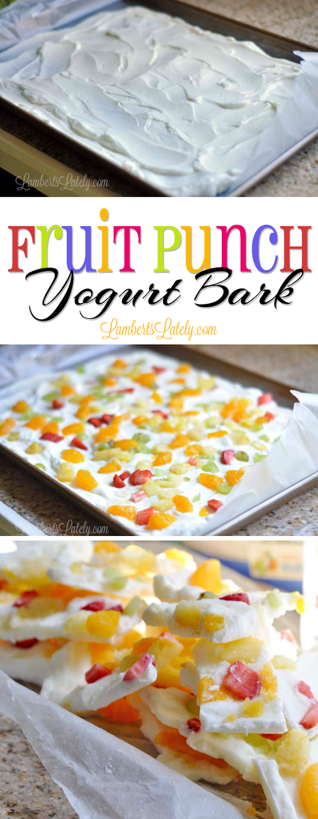How delicious does Fruit Punch Yogurt Bark sound?  This would be great for a kid's lunch or snack...it can even be eaten two ways!  Click through to see recipe and details (there's even a cute printable note on this site).