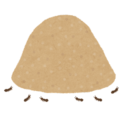 ドーム状の蟻塚のイラスト