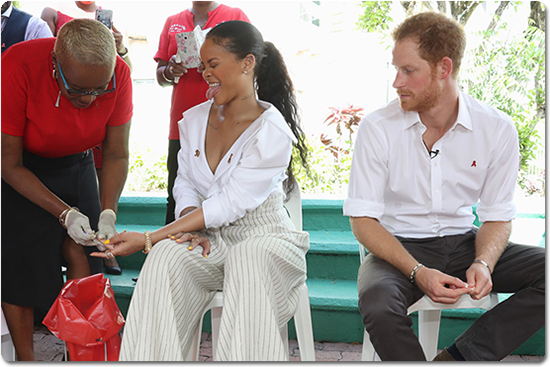 Rihanna and Prince Harry get live HIV tests (photo)