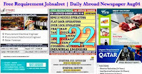 Free Requirement Jobsalret Daily Abroad Newspaper Aug04