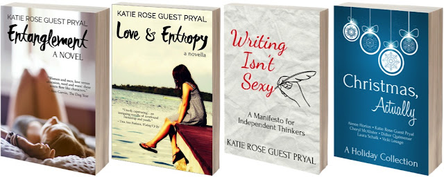 a four-photo array of Katie's book covers: Entanglement, Love and Entropy, Writing Isn't Sexy, and Christmas Actually