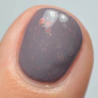 plum nail polish with fall glitter