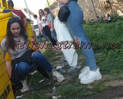 Girls Gotta Go 176 (Girls decide to pee together on the ground, outdoor. All of them are at a festival, having fun, drinking to much beer)