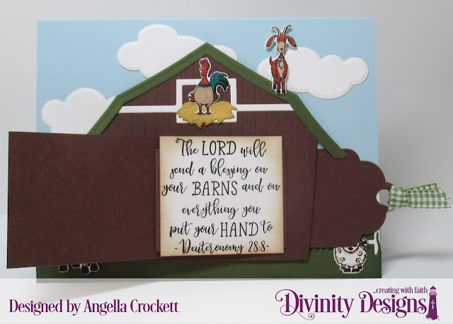 Divinity Designs LLC: Farm Friends Stamp/Die Duos, Farmer's Prayer, Barn Dies, Farm Fence Die, Grass Hill Die, Grass Lawn Die, Clouds and Raindrops Dies, Card Designer Angie Crockett