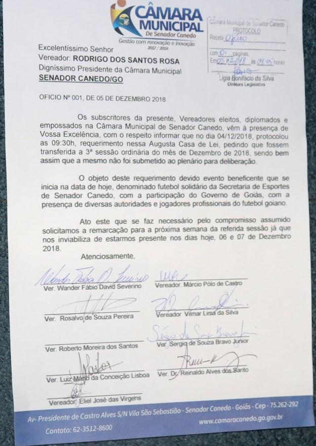Senador Canedo: Presidente da Câmara fala sobre a falta de Quórum na última sessão