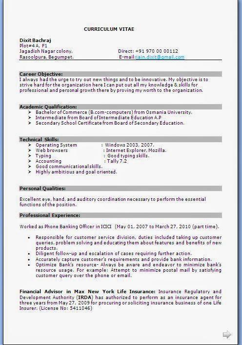 Cv samples for freshers bcom – Resume Format Download for Freshers